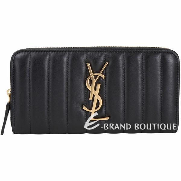 YSL Saint Laurent VICKY 絎縫小羊皮拉鍊長夾(黑色) 1930070-01