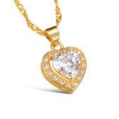 【5折超值價】  情人節禮物最新款時尚精美鑲鑽皓石愛心造型女款度18K金項鍊