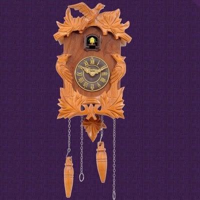 實木手工雕刻咕咕鐘客廳光控報時歐式黑森林風格布谷鳥擺鐘027(自然色)