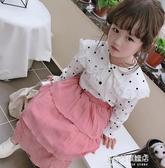 女童長袖襯衫-童裝春秋季新款中小童甜美圓點蕾絲花邊襯衫 女童寶寶上衣 多麗絲