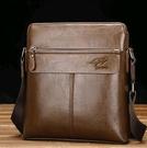 袋鼠男單肩包 男士斜挎包 郵差包 休閒斜跨包皮包背包ipad包  快速出貨