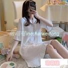 睡衣 睡裙女夏季簡約白色寬松半袖冰絲春秋薄款睡衣仿真絲綢短袖家居服 【萌萌噠】