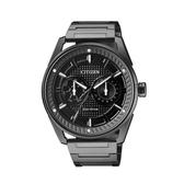 日本CITIZEN星辰Eco-Drive 全黑質感日期星期顯示腕錶 BU4028-85E 黑