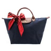 LONGCHAMP經典短提把中型尼龍摺疊水餃包(深藍色-含帕巾)480101-32