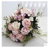 新娘手捧結婚新款粉紅白仿真牡丹花束LYH3328【大尺碼女王】
