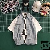 短袖襯衫男寬鬆韓版潮流學生工裝短袖襯衫外套【左岸男裝】