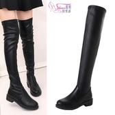 膝上靴.英倫騎士風彈力襪套式中跟過膝長靴.黑色【鞋鞋俱樂部】【023-LHA09】4cm