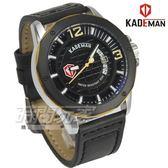KADEMAN卡德蔓 格紋酷帥粗曠型男手錶 真皮男錶 日期視窗 防水手錶 K6166銀黑