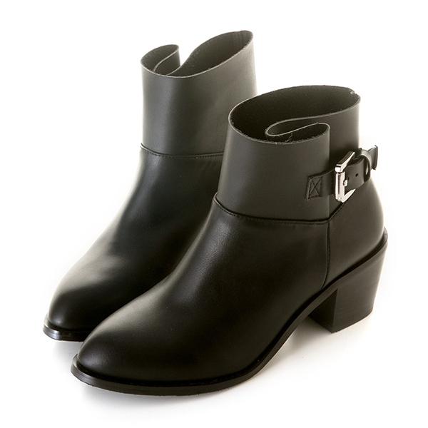 amai歐美拼接側釦帶短靴 黑