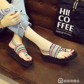 厚底涼鞋女學生百搭夏新款平底時尚外穿坡跟民族風人字沙灘鞋 美斯特精品