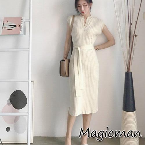 【現貨】洋裝 氣質收腰V領針織連身裙 杏色/均碼 (Mag244) ★Magic Man★(Mag244)