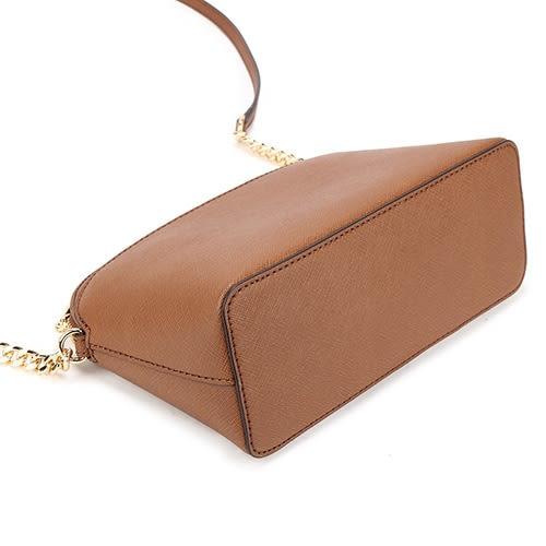 MICHAEL KORS EMMY防刮皮革前口袋金鍊斜背包(棕色)611283-8