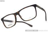 HUGO BOSS 光學眼鏡 HB0733 KD2 (琥珀-黑) 休閒經典大方框款 # 金橘眼鏡
