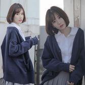 毛衣開衫女秋冬季新款韓國寬鬆慵懶chic純色簡約學院風針織衫外套 9號潮人館