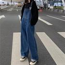 韓版復古百搭寬松大口袋牛仔吊帶褲女顯瘦高腰闊腿褲長褲