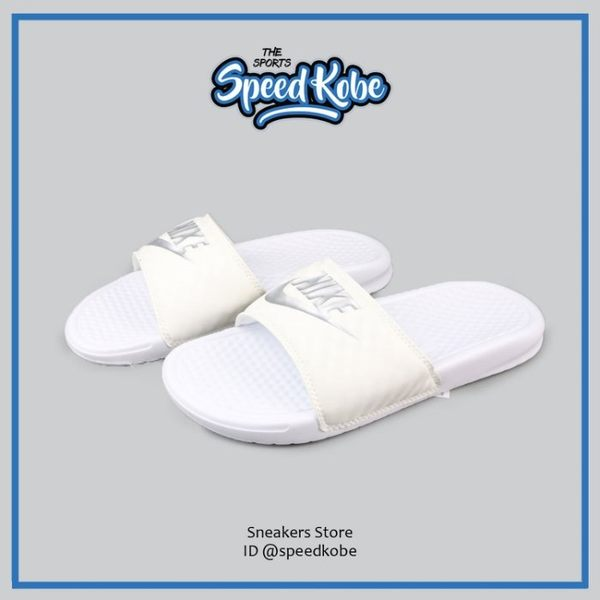 NIKE 拖鞋 W Benassi JDI 白 鑽石 菱格紋 運動 女 343881-102【Speedkobe】