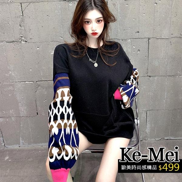 克妹Ke-Mei【ZT64704】NUTS歐美龐克併接撞色袖厚款U領洋裝