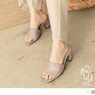 《SD0336》簡約方頭皮革防潑水粗跟鞋 OrangeBear