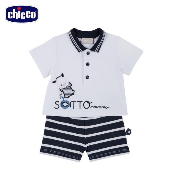 chicco-潛水艇-條紋短袖套裝