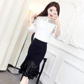 俏皮套裝女兩件套夏季韓版氣質立領繡花上衣 蕾絲拼接包臀半身裙