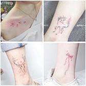 韓國少女防水仿真紋身貼持久鹿花朵鯨魚可愛貓咪腳踝貼紙31張套裝