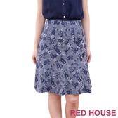 【RED HOUSE-蕾赫斯】交錯花朵及膝裙(藍紫色)