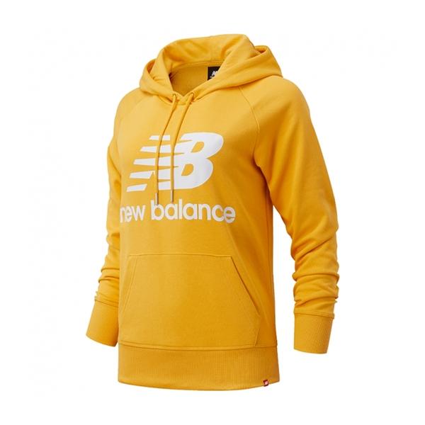 New Balance 女裝 長袖 連帽 休閒 基本款 大LOGO 袋鼠口袋 黃【運動世界】AWT03550ASE