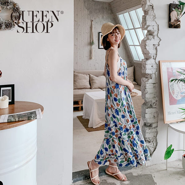 Queen Shop【01084516】樹葉印花細肩帶洋裝*現+預*