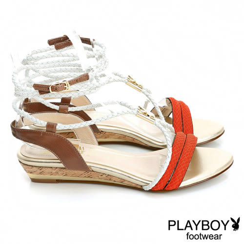 PLAYBOY 涼夏渡假風~交織綁帶楔型低跟涼鞋-桔(女)