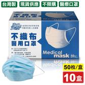 (10盒組)清新宣言 醫用口罩 醫療口罩 藍色 50片X10盒(中衛 麥迪康口罩 台灣製 符合CNS規格)專品藥局