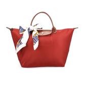 LONGCHAMP 短提把中型尼龍摺疊水餃包(橘紅-含帕巾)480101-A29