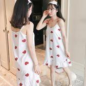 睡裙帶胸墊吊帶女夏季純棉韓版清新學生甜美可愛家居服可外穿睡衣 時尚潮流