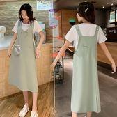 中大尺碼L-4XL短袖背帶裙兩件套胖仙女夏季新款兩面可穿顯瘦减齡背帶裙套裝4F071-5131