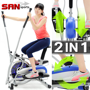 【SAN SPORTS】飛輪車2IN1手足健身車(結合踏步機+划船機+跑步機)飛輪健身車滑步機特賣會便宜