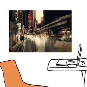 【24mama 掛畫】單聯式 油畫布 無框畫 60x40cm-城市街道無時鐘