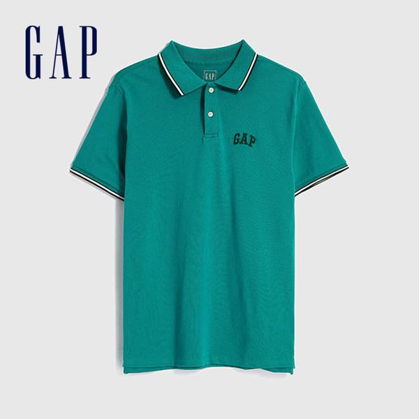 Gap男裝 舒適Logo短袖POLO衫 440725-孔雀藍