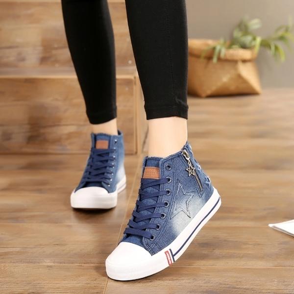 女士高筒牛仔帆布鞋女厚底韓版學生布鞋鬆糕鞋