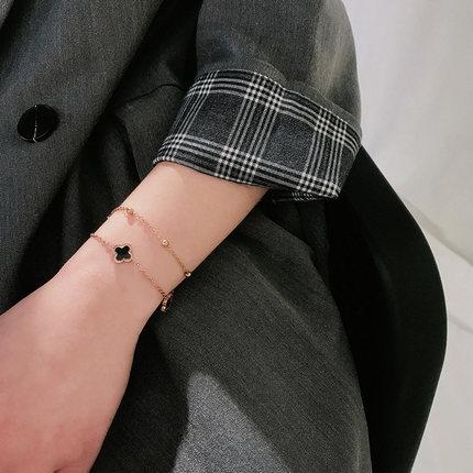 手鏈女四葉草雙層鏈鈦鋼氣質手飾【聚寶屋】