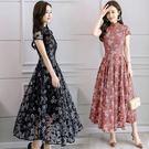 旗袍洋裝 夏季新款女裝復古蕾絲改良旗袍修...