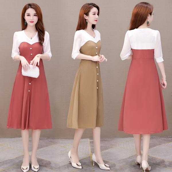 超殺29折 韓國風撞色珍珠釦裝飾氣質顯瘦短袖洋裝