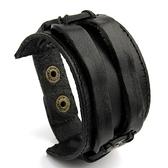 真皮編織手環-創意鈕扣生日情人節禮物男手鍊2色73cs8【時尚巴黎】