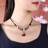 民族風鎖骨鏈復古女短款項鏈琉璃瑪瑙吊墜裝飾頸鏈配脖子飾品夏季  ys1115『寶貝兒童裝』