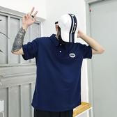 polo衫 18韓國INS復古刺繡字母Polo翻領短袖T恤 男女款 米蘭街頭
