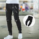 長褲 抓破造型三角吊飾不收邊褲腳窄管牛仔...