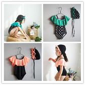 兒童泳裝 韓國女童2020新款荷葉花邊拼色波點吊帶連體泳衣中