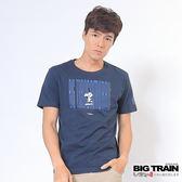 BIG TRAIN 條碼文字潮流T-男-深藍