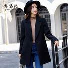 毛呢外套  新款韓版休閑呢子大衣時尚大碼中長款毛呢外套