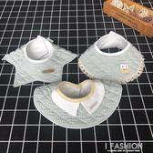 寶寶圍嘴嬰兒純棉防水口水巾新生兒圓形造型夾棉加厚圍兜春秋冬季-ifashion