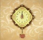 掛鐘客廳田園樹脂石英鐘牆面靜音創意歐式掛表牆面掛鐘鐘太陽機芯-1023001