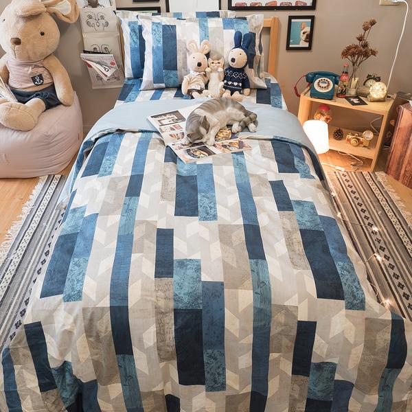 藍色大理石 K1 雙人King Size床包三件組  100%精梳棉  台灣製